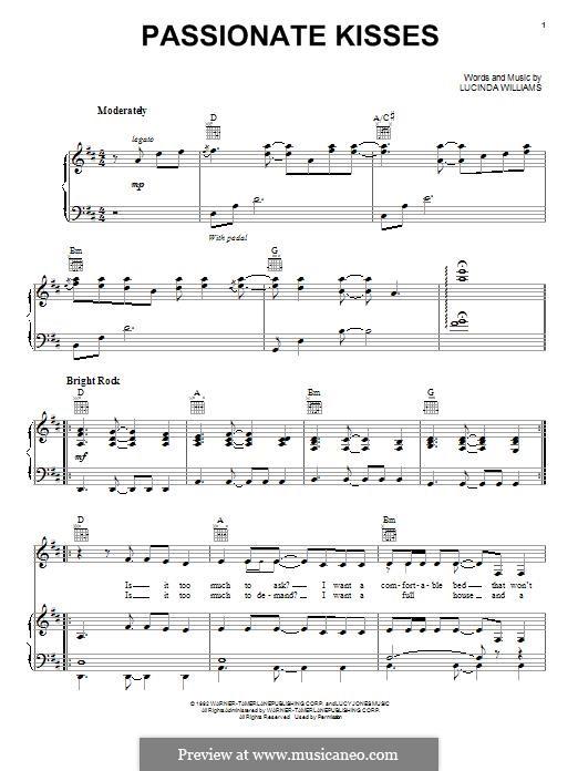 Passionate Kisses (Mary Chapin Carpenter): Für Stimme und Klavier (oder Gitarre) by Lucinda Williams