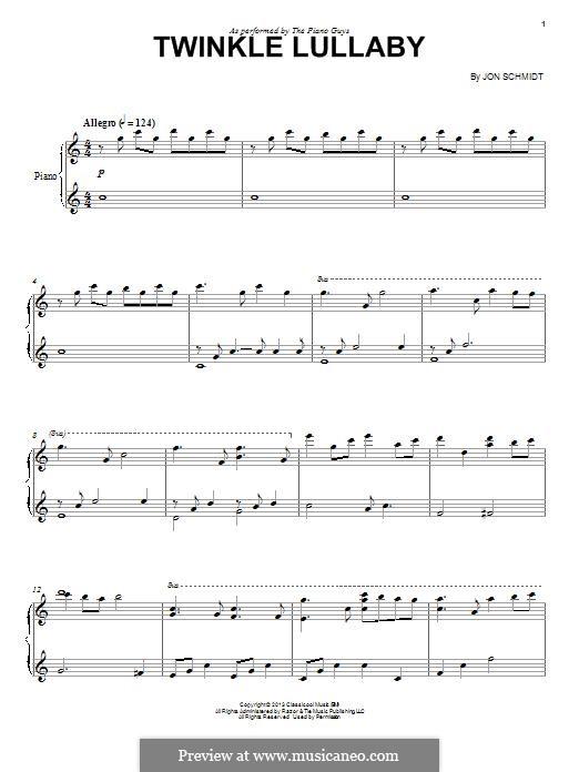 Twinkle Lullaby (The Piano Guys): Für Cello und Klavier by Jon Schmidt
