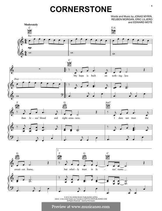 Cornerstone (Hillsong): Für Stimme und Klavier (oder Gitarre) by Jonas Myrin, Reuben Morgan, Eric Liljero
