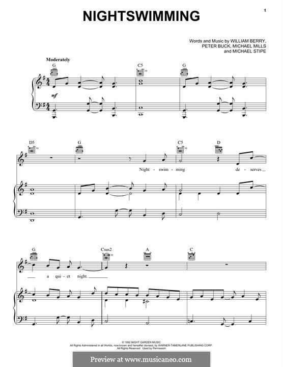 Nightswimming (R.E.M): Für Stimme und Klavier (oder Gitarre) by Mike Mills, Michael Stipe, Peter Buck, William Berry