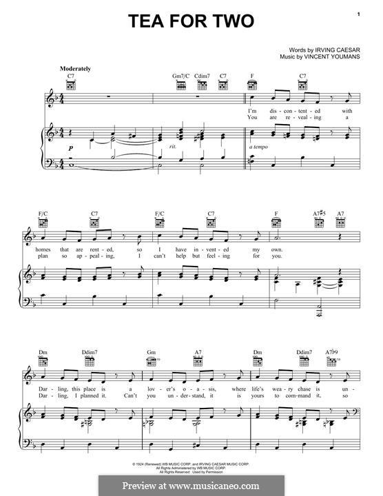 Tea for Two: Für Stimme und Klavier (oder Gitarre) by Vincent Youmans