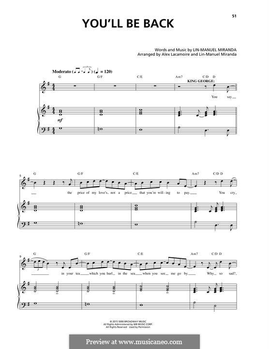 You'll Be Back (from 'Hamilton'): Für Stimme und Klavier by Lin-Manuel Miranda