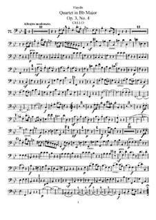 Streichquartett in B-Dur, Hob.III/16 Op.3 No.4: Cellostimme by Joseph Haydn