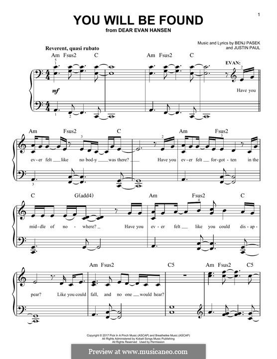 You Will Be Found (from Dear Evan Hansen): Für Klavier by Justin Paul, Benj Pasek
