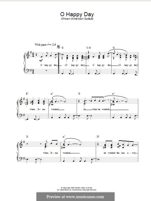 O happy Day: Für Klavier by folklore