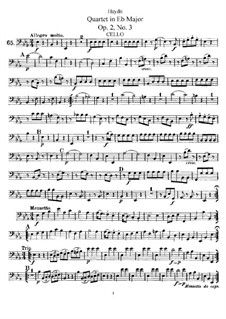 Streichquartett in Es-Dur, Hob.III/9 Op.2 No.3: Cellostimme by Joseph Haydn