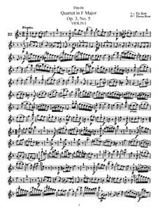 Streichquartett in F-Dur, Hob.III/17 Op.3 No.5: Violinstimme I by Joseph Haydn