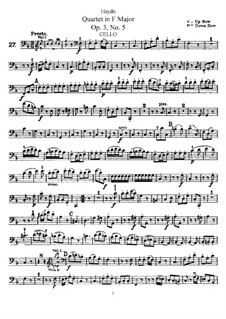 Streichquartett in F-Dur, Hob.III/17 Op.3 No.5: Cellostimme by Joseph Haydn