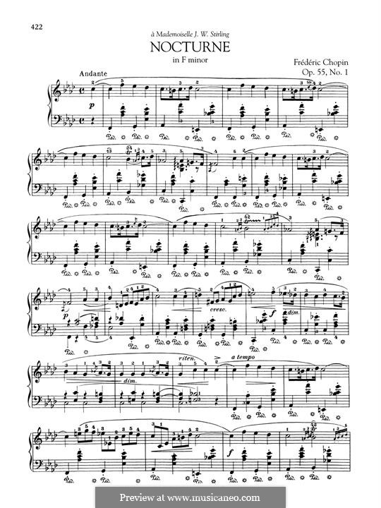 Nocturnen, Op.55: No.1 in F Minor by Frédéric Chopin