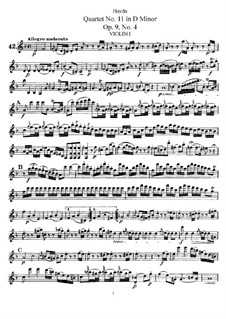 Streichquartett Nr.11 in d-Moll, Hob.III/22 Op.9 No.4: Violinstimme I by Joseph Haydn