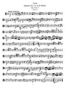 Streichquartett Nr.11 in d-Moll, Hob.III/22 Op.9 No.4: Bratschenstimme by Joseph Haydn