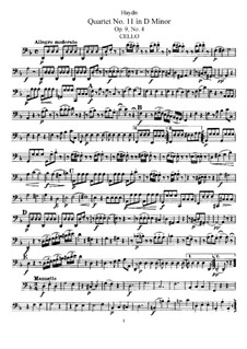 Streichquartett Nr.11 in d-Moll, Hob.III/22 Op.9 No.4: Cellostimme by Joseph Haydn