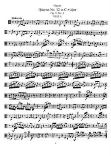 Streichquartett Nr.12 in C-Dur, Hob.III/19 Op.9 No.1: Bratschenstimme by Joseph Haydn