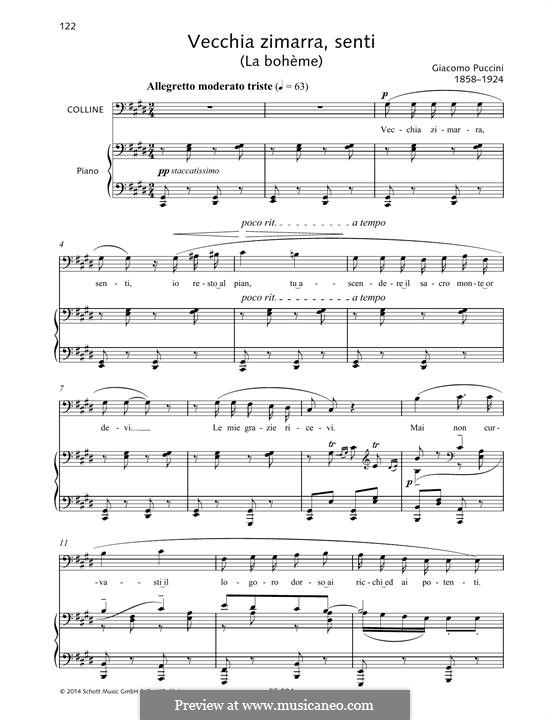 Vecchia zimarra: Für Stimme und Klavier by Giacomo Puccini