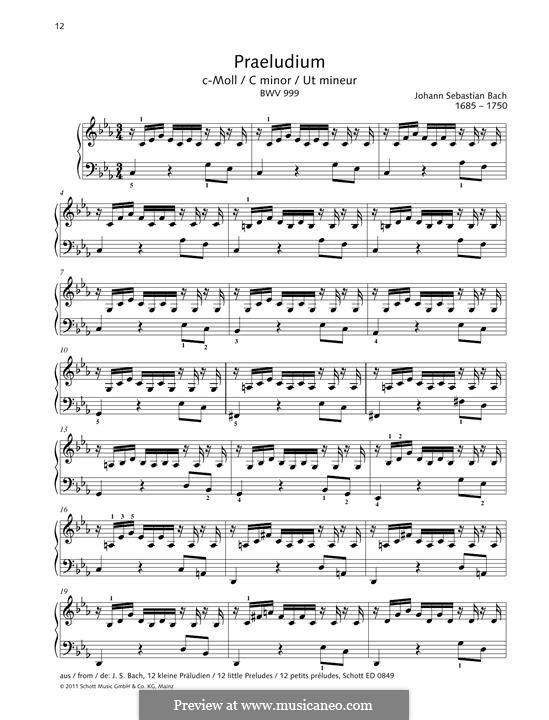 Präludium in c-Moll, BWV 999: Für Klavier by Johann Sebastian Bach