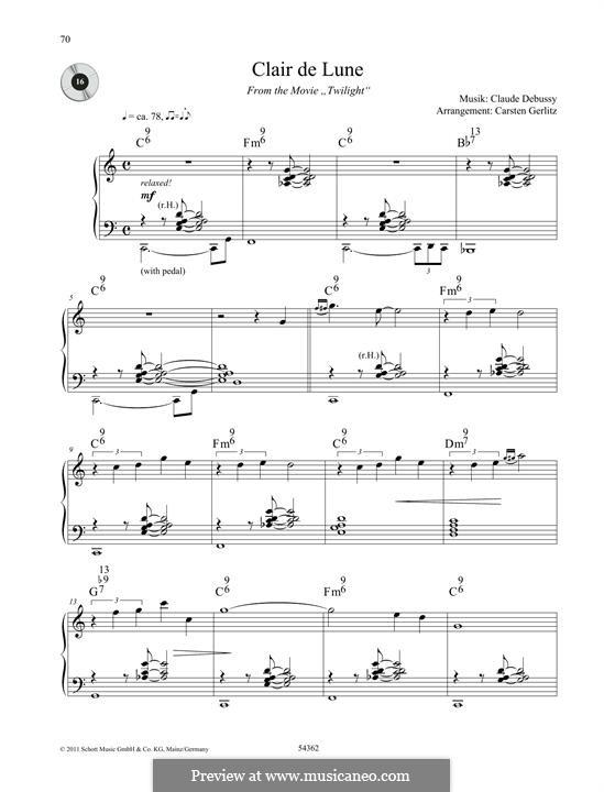 No.3 Clair de lune, for Piano: Für einen Interpreten by Claude Debussy