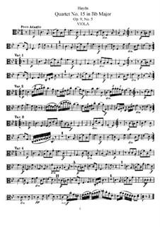 Streichquartett Nr.15 in B-Dur, Hob.III/21 Op.9 No.5: Bratschenstimme by Joseph Haydn