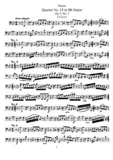 Streichquartett Nr.15 in B-Dur, Hob.III/21 Op.9 No.5: Cellostimme by Joseph Haydn