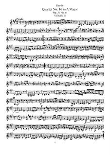 Streichquartett Nr.16 in A-Dur, Hob.III/22 Op.9 No.6: Violinstimme II by Joseph Haydn