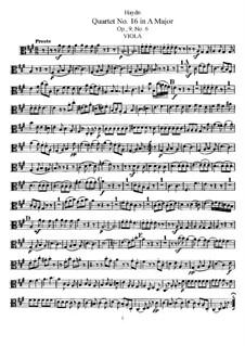 Streichquartett Nr.16 in A-Dur, Hob.III/22 Op.9 No.6: Bratschenstimme by Joseph Haydn