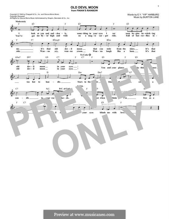 Old Devil Moon: Melodische Linie by Burton Lane