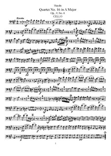 Streichquartett Nr.16 in A-Dur, Hob.III/22 Op.9 No.6: Cellostimme by Joseph Haydn