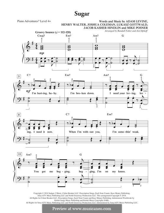 Sugar (Maroon 5): Für Klavier, leicht by Adam Levine, Jacob Kasher Hindlin, Joshua Coleman, Lukas Gottwald, Mike Posner, Henry Russell Walter