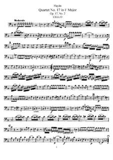 Streichquartett Nr.17 in F-Dur, Hob.III/26 Op.17 No.2: Cellostimme by Joseph Haydn