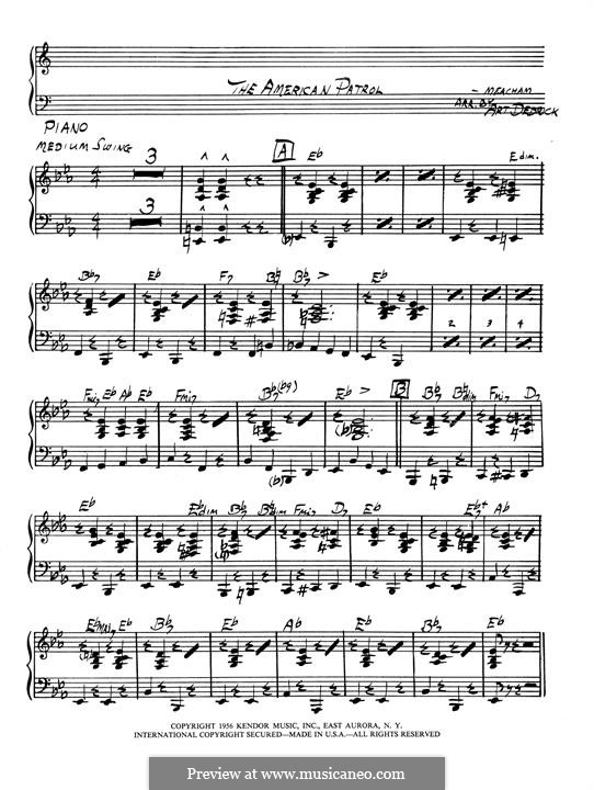 American Patrol, Op.92: Klavierstimme by Frank W. Meacham