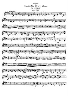 Streichquartett Nr.18 in E-Dur, Hob.III/25 Op.17 No.1: Violinstimme II by Joseph Haydn