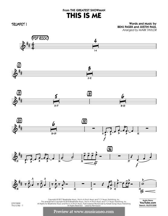 This is Me: Trumpet 1 part (arr. Mark Taylor) by Justin Paul, Benj Pasek