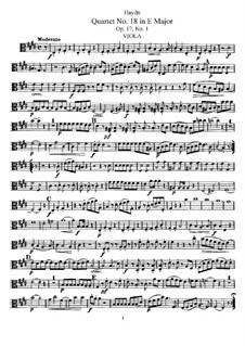 Streichquartett Nr.18 in E-Dur, Hob.III/25 Op.17 No.1: Bratschenstimme by Joseph Haydn
