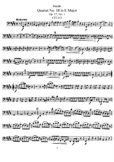 Streichquartett Nr.18 in E-Dur, Hob.III/25 Op.17 No.1: Cellostimme by Joseph Haydn