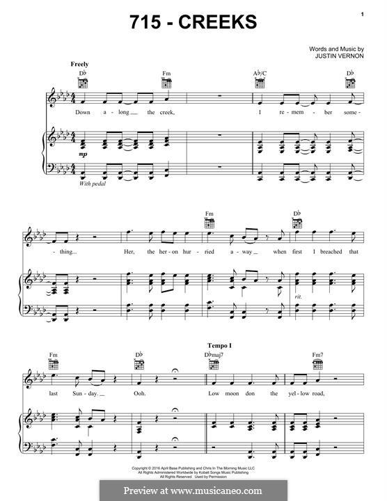 715 - CREEKS (Bon Iver): Für Stimme und Klavier (oder Gitarre) by Justin Vernon