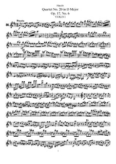 Streichquartett Nr.20 in D-Dur, Hob.III/30 Op.17 No.6: Violinstimme I by Joseph Haydn