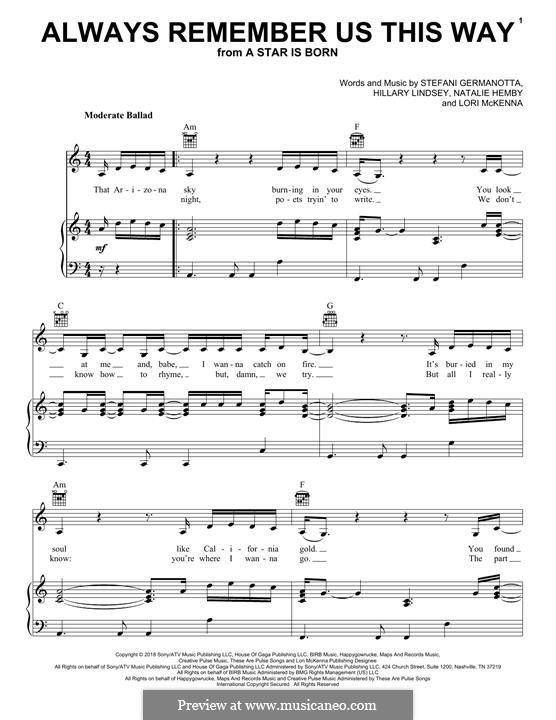 Always Remember Us This Way (from A Star is Born): Für Stimme und Klavier (oder Gitarre) by Hillary Lindsey, Lori McKenna, Natalie Hemby, Stefani Germanotta