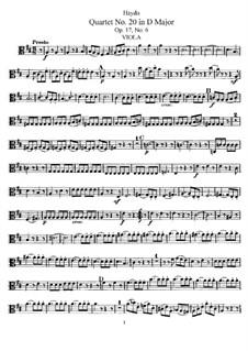 Streichquartett Nr.20 in D-Dur, Hob.III/30 Op.17 No.6: Bratschenstimme by Joseph Haydn