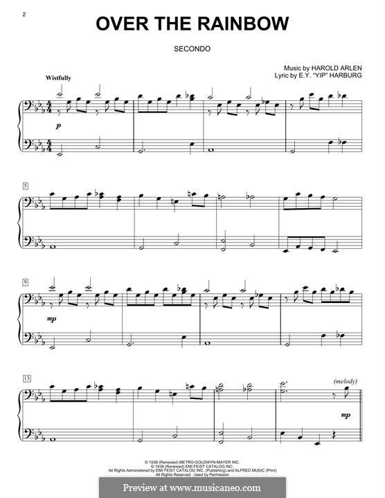 Over the Rainbow (from The Wizard of Oz): Für Klavier by Harold Arlen