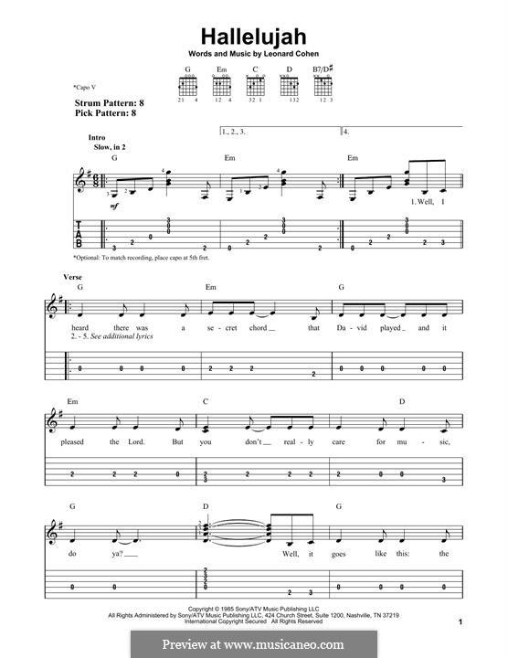 Hallelujah. Instrumental version: Für Gitarre mit Tabulatur by Leonard Cohen