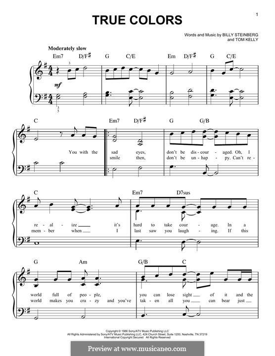 True Colors: Für Klavier by Billy Steinberg, Tom Kelly