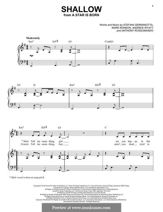 Shallow (from A Star is Born): Für Stimme und Klavier by Andrew Wyatt, Anthony Rossomando, Mark Ronson, Stefani Germanotta