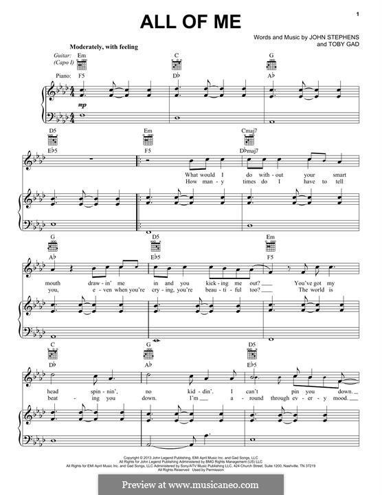 All of Me: Für Stimme und Klavier (oder Gitarre) by John Stephens, Tobias Gad