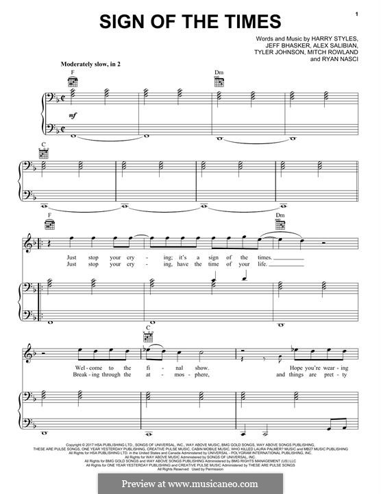 Sign of the Times: Für Stimme und Klavier (oder Gitarre) by Jeff Bhasker, Harry Styles, Tyler Sam Johnson, Alex Salibian, Mitch Rowland, Ryan Nasci
