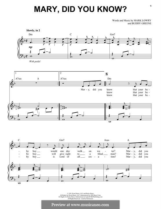 Mary Did You Know?: Für Stimme und Klavier by Bud Green