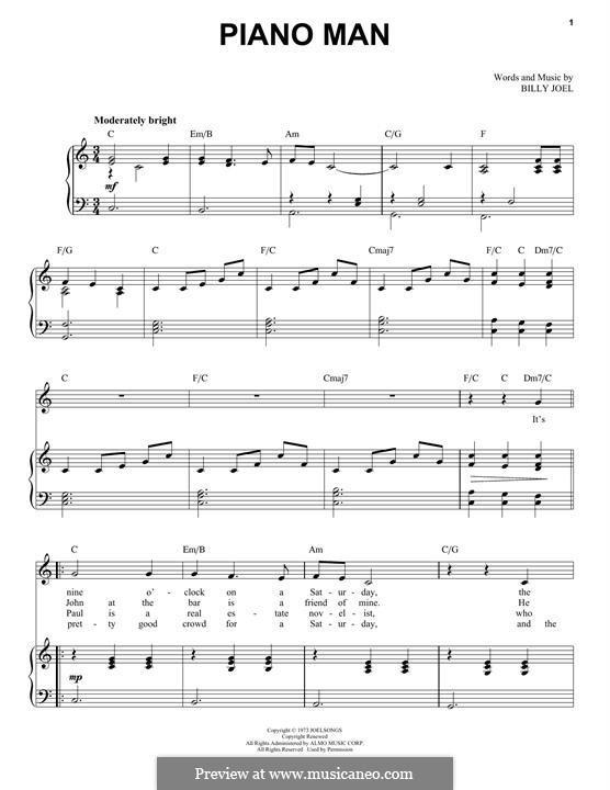 Piano Man: Für Stimme und Klavier by Billy Joel