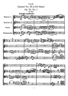 Streichquartett Nr.28 in Es-Dur, Hob.III/30 Op.20 No.1: Vollpartitur by Joseph Haydn
