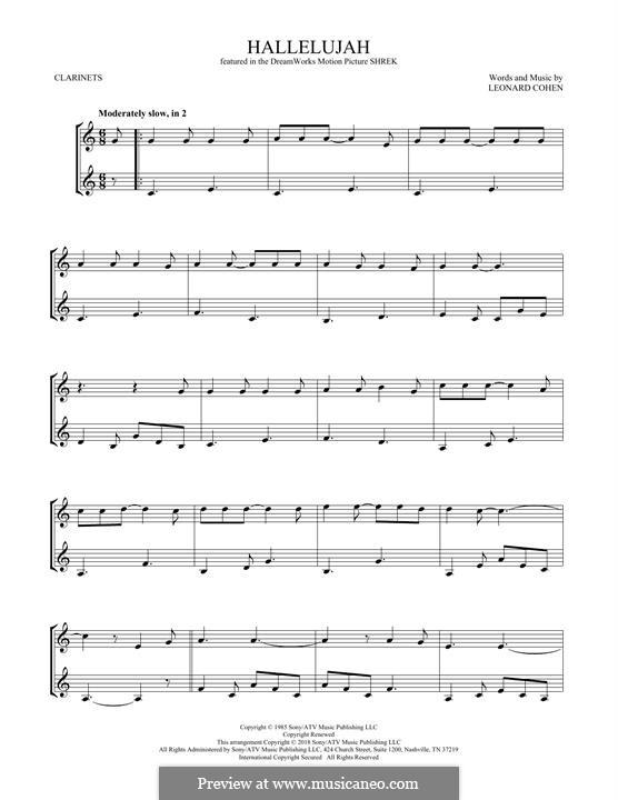 Hallelujah. Instrumental version: Für zwei Klarinetten by Leonard Cohen