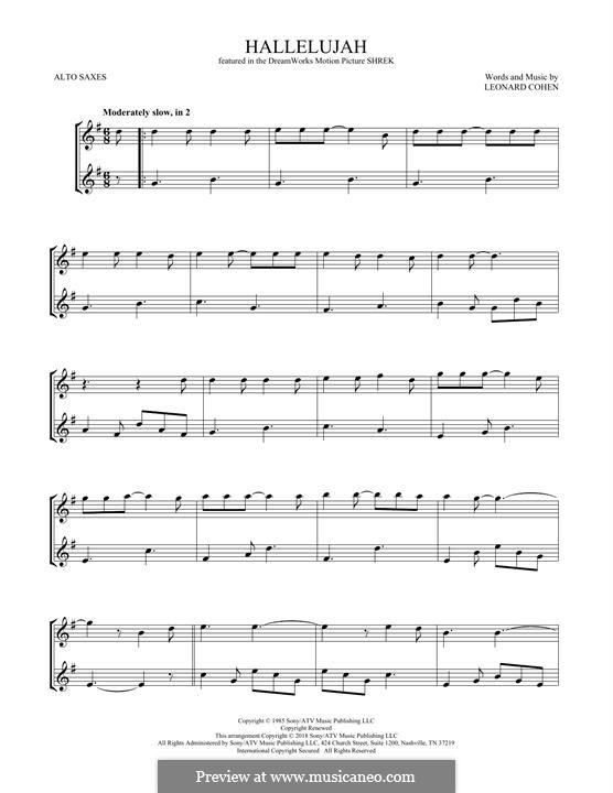 Hallelujah. Instrumental version: For two alto saxophones by Leonard Cohen
