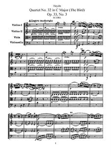 Streichquartett Nr.32 in C-Dur 'Vogelquartett', Hob.III/39 Op.33 No.3: Vollpartitur by Joseph Haydn