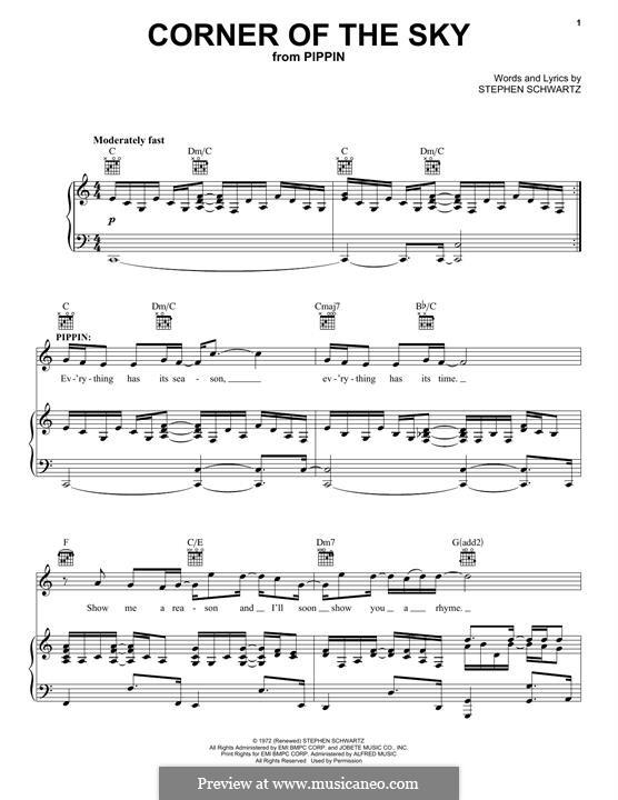 Corner of the Sky (from Pippin): Für Stimme und Klavier (oder Gitarre) by Stephen Schwartz